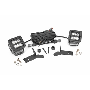 Rough Country Jeep 2-inch LED Lower Windshield Kit (18-19 Wrangler JL, 2020 Gladiator JT  Black-Series) 70052
